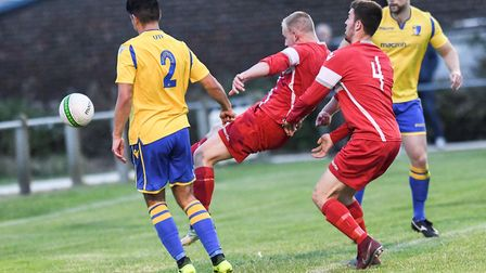 Action from the friendly match between Sheringham and Norwich United Picture: ROBERT WALKLEY