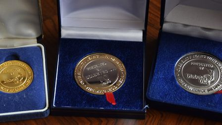 The Diabetes UK medals for living with Type 1 Diabetes, given to Derek Harrison of North Walsham for