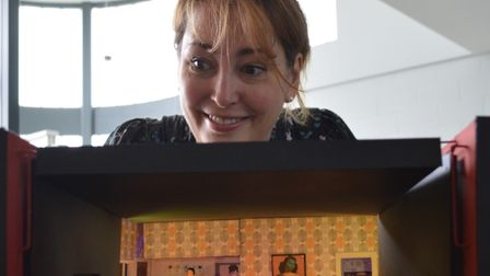 Director Gillian King with a model of the stage set by designer Ian Sommerville. Picture: Richard B
