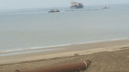 Dredger off the coast at Bacton. Pictures: David Bale