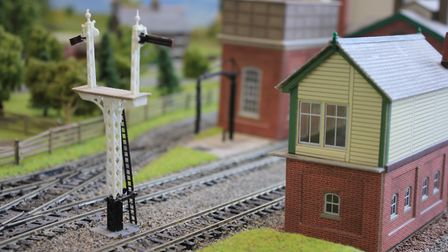 The miniature signal box featured in the model village on sale at Norfolk estate agents Keys Arnolds