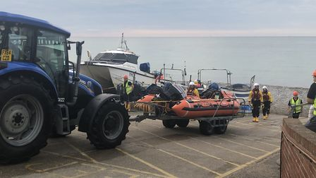 Cromer lifeboat launched to reports of missing person. Pictures: Rose Syer
