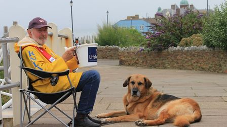 Bob Pooley, who, with his dog Adam, has been travelling from his home in Northamptonshire to help wi