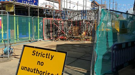 More work takes place this week on the sinkhole in Sheringham. Picture: Sheringham Town Council