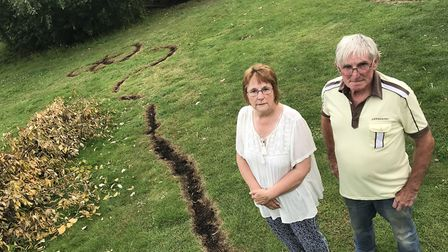 A power cable collaped in Roger and Beccy Fitches' garden in the village of Ridlington. Picture: Nei