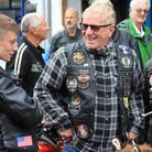 Harley Davidson owners display their bikes in the Sheringham High Street after following the coast r