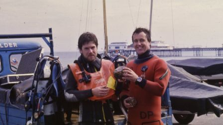 Martin Warren, left, and David Pope, who dived to th ruins of Shipden, in Cromer, in 1986. Picture: