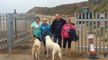 People protesting against gate at West Runton beach. It has now been removed. L-R, Bev Burnham, Liz