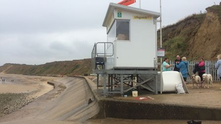 People protesting against new gate at West Runton beach. Pictures: David Bale
