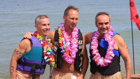Friends Mark Nolan, Ray Blaber and Steve Lubbock, who build a Hawaii-inspired raft.Photo: KAREN BET