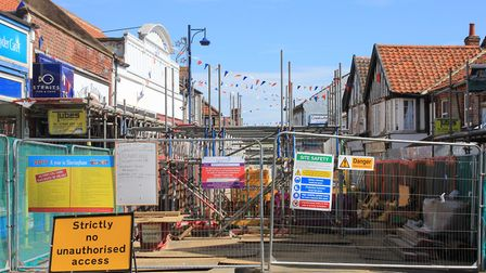 Barriers surrounding the Sheringham sinkhole, where engineers are working on repairing a damaged sew