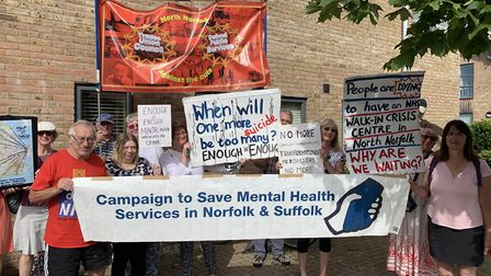 Protestors lobbying for a phychiatic walk-in centre in Cromer, outside the North Norfolk Clinical Co