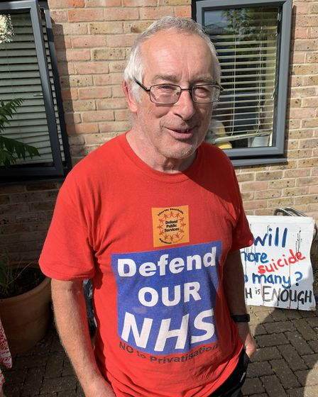 Mental health campaigner Terry Skyrme outside the North Norfolk Clinical Commissioning Group meeting