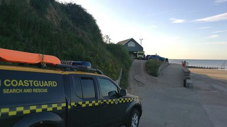A swimmer was rescued by the Mundesley Lifeboat after getting into trouble off the coast. Picture: H