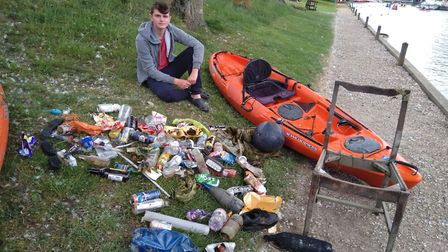 Will Darling with some of the rubbish he found. Pictures: Peter Darling