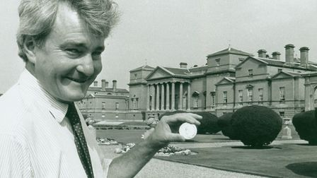 Viscount Coke with farming medals awarded to Thomas William Coke at Holkham hall pic taken 2nd aug 1