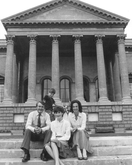 Viscount Coke on the steps of Holkham Hall with his family pic taken 29th jan 1983