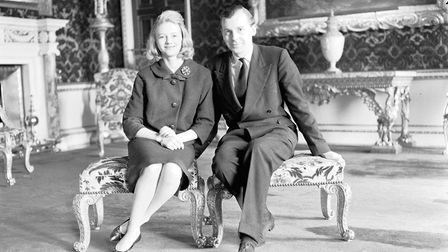 LADY CAREY COKE AND FIANCE BRYAN BASSETTSEATED IN HOLKHAM HALL?DATED 1956PLATE P7080