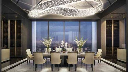 The dining area of Sir James Dyson's new Singapore residence, the Super Penthouse at the Wallich Res