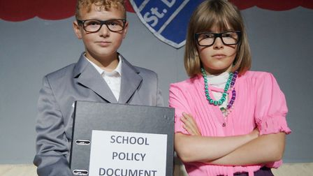 Year 6 Cromer Junior School pupils Archie and Teagan in their end of term production, the X-Factory.