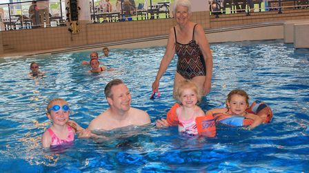Some of those who enjoyed the 30th anniversary celebrations of Sheringham's leisure centre, Splash,