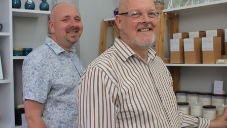 David Beard and Stephen Lumb with some of the Norfolk-made products on sale in Cottonwood Home, thei