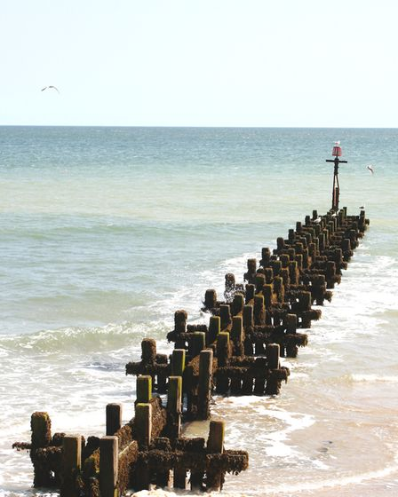 Weathered wooden groynes. They feature in the new book, Secret Cromer and Sheringham. Picture: Lorna