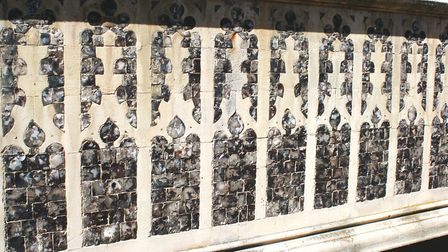 A knapped flint facade on Cromer CHurch, which features in Secret Cromer and Sheringham. Picture: Lo