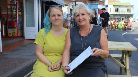Charlotte Stubbs (right) of Creativity gift shop, who has launched a pedestrianisation petition in S