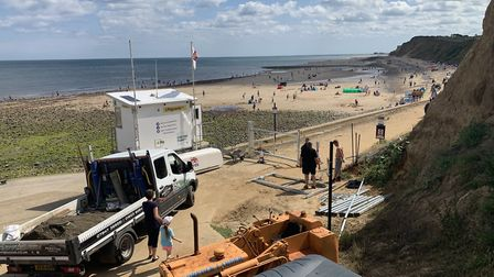 A gate being erected at West Runton beach. Pictures: Bev Burnham