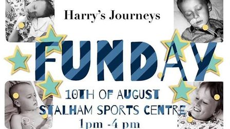 Poster for fun-day to raise money for Harry Addy's proton therapy treatment. Picture: Melanie Addy