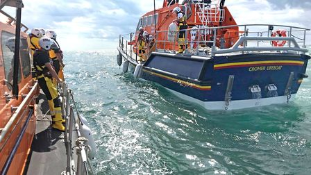 Lowestoft's lifeboat was launched to assist Cromer's RNLI in the rescue of a lone sailor, who was fo