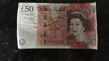 A fake £50 note. Similar notes were used in Cromer and Coltishall, leading to two arrests. Picture: