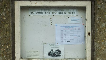The notice board at Saint John the Baptist's Head in Trimingham. The church features on the north No