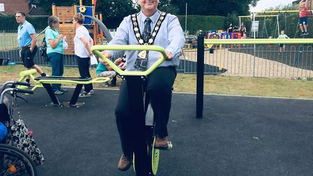 Norfolk's first eco-gym opens in North Walsham. Town mayor Garry Bull using the new equipment at Mem