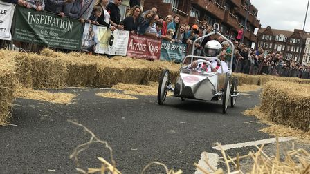 Children and adults took part in the annual Cromer Soapbox Derby, they were watched by hundreds of t
