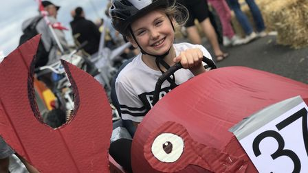Emily Flowerdew raced her crab soapbox car in the annual Cromer Soapbox Derby, competitors were watc