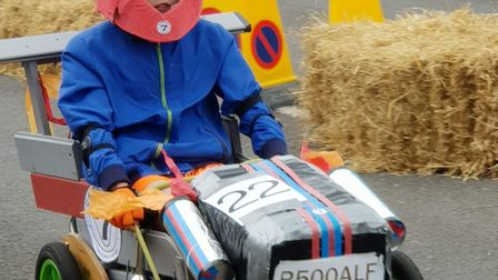 Alfie Childs, 10, on his kart at the Cromer soapbox derby. Picture: Childs family