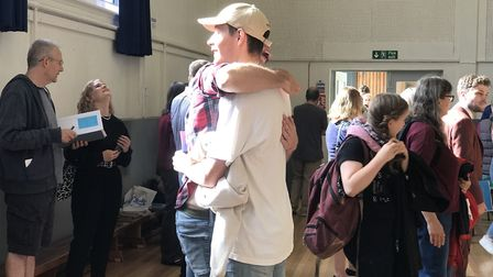 Students celebrate A-level results at Paston College. Pictures: Victoria Pertusa