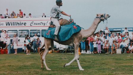 Tony Shipp, who is celebrating 35 years as carnival chairman, taking part in camel races on the carn