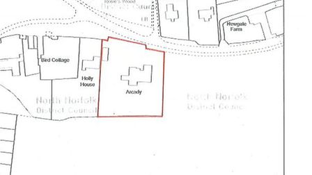 The notice relates to the land edged red on this plan. Picture: NNDC