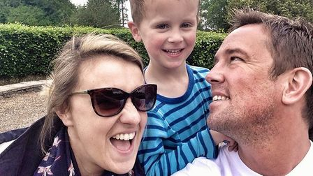 Simon Thomas with son Ethan and wife Gemma. Photo: Bloodwise