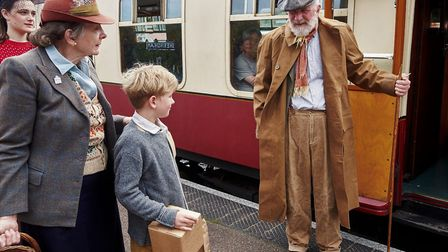 Tom Bryans and Graham Blyth as William Beech and Tom Oakley in Goodnight Mister Tom, recreating the