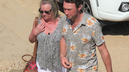 Jonny McPherson arrives at Sea Palling beach with his mum, to surprise his fans. Pictures: Maurice G