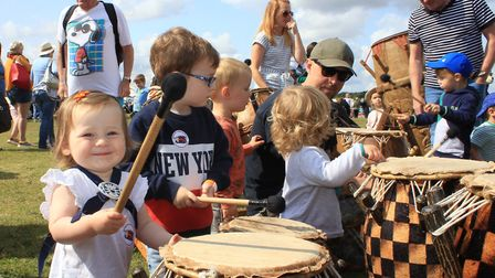 Youngsters taking part in a drumming workshop at Cromer Carnival family fun day.Photo: KAREN BETHELL