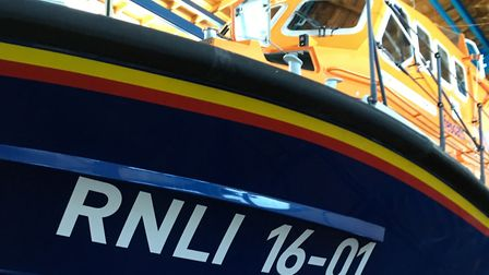 The relief lifeboat number 16 – 01 is in the home station boathouse at the end of Cromer pier. Pictu