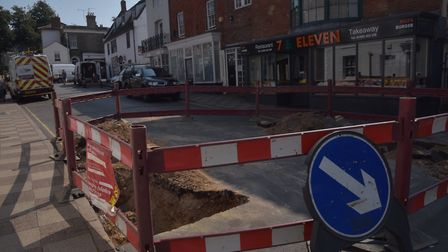 Diversion and road closure signs in North Walsham town centre caused chaos. Byline: Sonya Duncan
