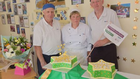 Celebration at Munhaven care home in Mundesley. Pictured are the catering team. Cook in charge, Debb