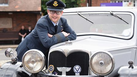 Duncan Baker with a vintage car prepares for the Holt 1940's weekend in September. Picture: DENISE B