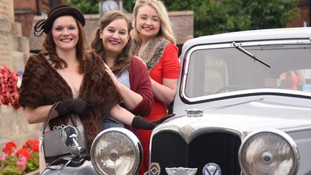 Locals in 1940's dress prepare for the Holt 1940's weekend in September. From left, Marie Crowley, A